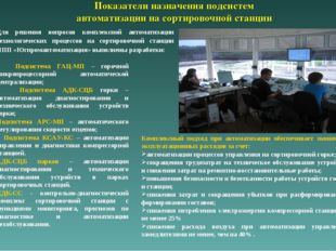 Показатели назначения подсистем автоматизации на сортировочной станции Для р