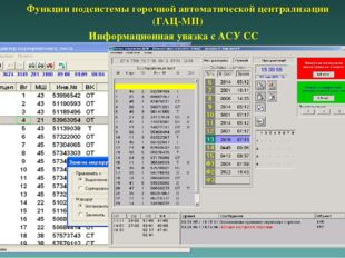Информационная увязка с АСУ СС Функции подсистемы горочной автоматической цен