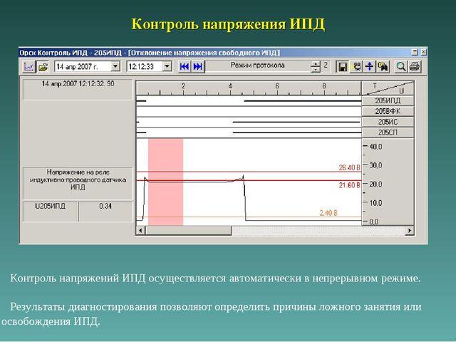 Контроль напряжения ИПД Контроль напряжений ИПД осуществляется автоматически...