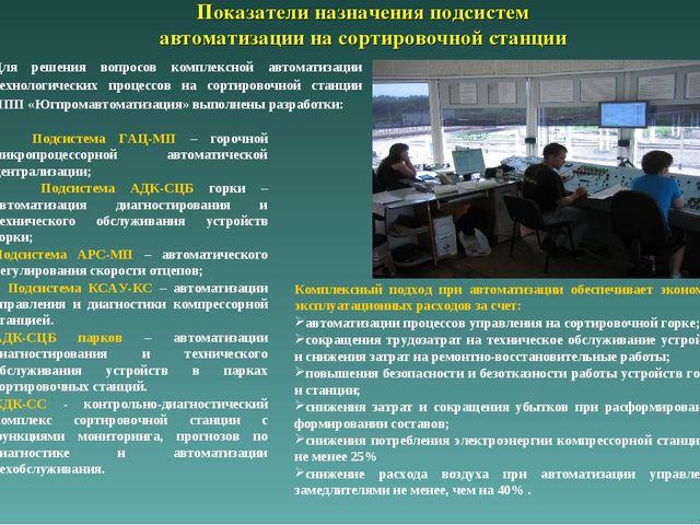 Показатели назначения подсистем автоматизации на сортировочной станции Для р...
