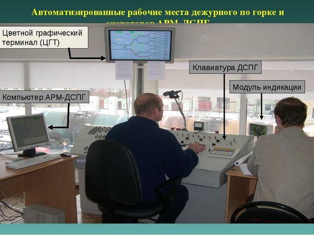 Автоматизированные рабочие места дежурного по горке и операторов АРМ-ДСПГ Цве...