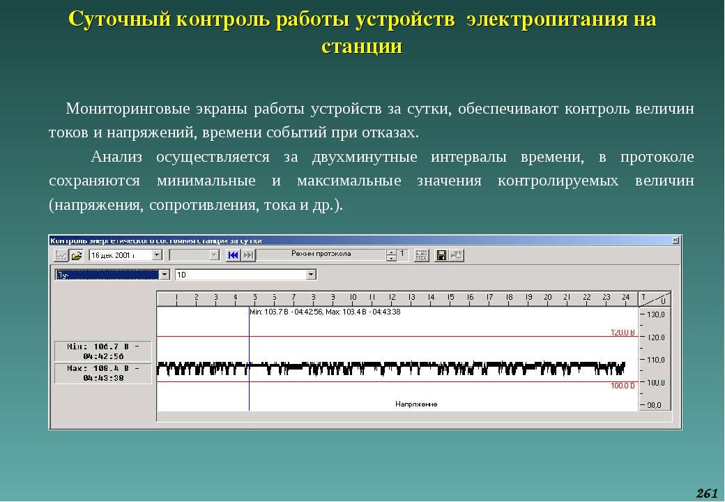 Суточный контроль работы устройств электропитания на станции Мониторинговые э...