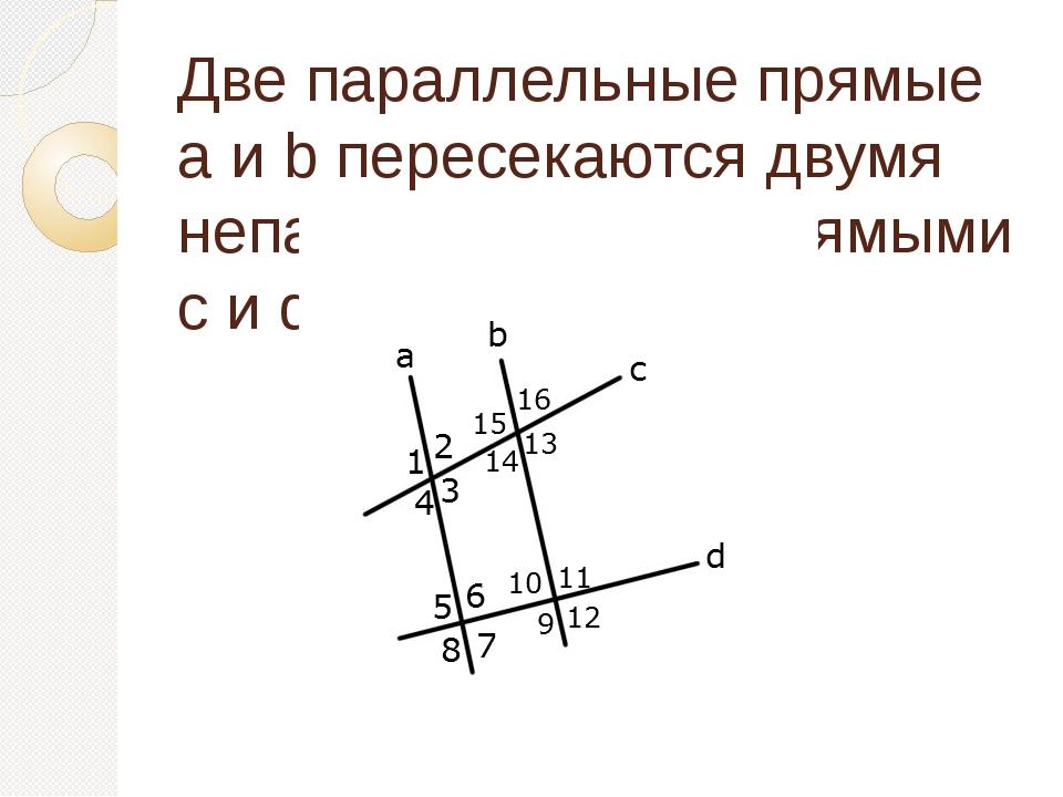 Две параллельные прямые a и b пересекаются двумя непараллельными прямыми c и d