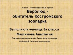 Учебно - информационный проект Верблюд - обитатель Костромского зоопарка Вып