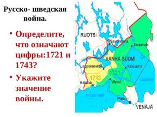 Русско- шведская война. Определите, что означают цифры:1721 и 1743? Укажите з