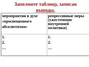 Заполните таблицу, записав выводы. мероприятия в духе «просвещенного абсолюти