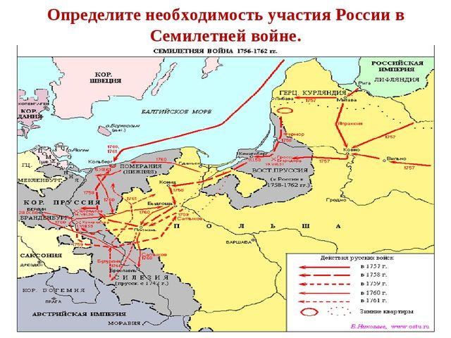 Определите необходимость участия России в Семилетней войне.