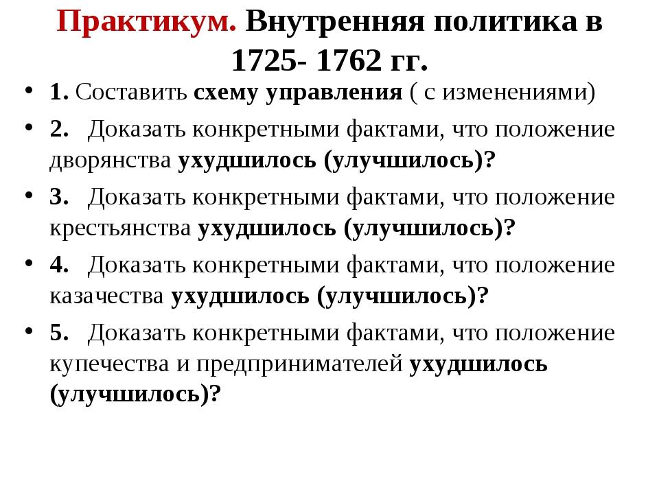 Практикум. Внутренняя политика в 1725- 1762 гг. 1. Составить схему управления...