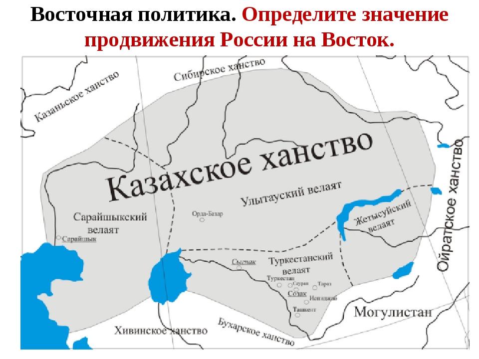 Восточная политика. Определите значение продвижения России на Восток.