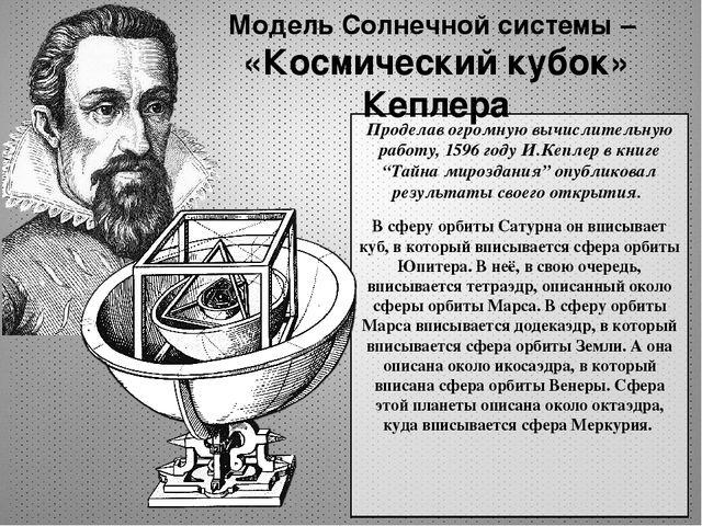 """Проделав огромную вычислительную работу, 1596 году И.Кеплер в книге """"Тайна ми..."""