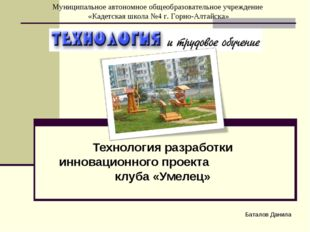 Технология разработки инновационного проекта клуба «Умелец» Баталов Данила Му