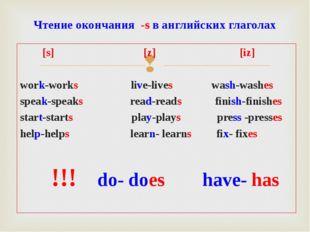 [s] [z] [iz] work-works live-lives wash-washes speak-speaks read-reads finis