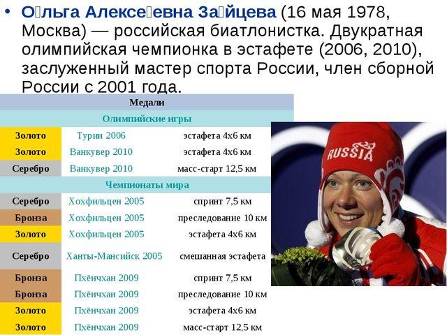 О́льга Алексе́евна За́йцева (16 мая 1978, Москва)— российская биатлонистка....