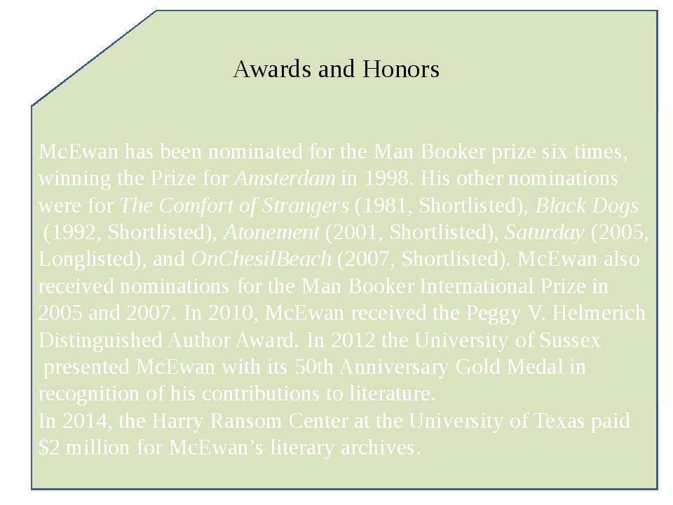 McEwan has been nominated for the Man Booker prize six times, winning the Pri...