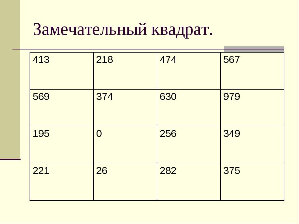 Замечательный квадрат. 413218474567 569374630979 1950256349 221262...