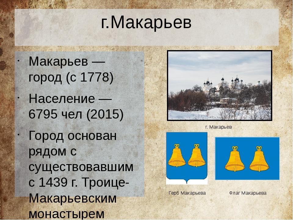 г.Макарьев Макарьев— город (с1778) Население— 6795чел (2015) Город основ...