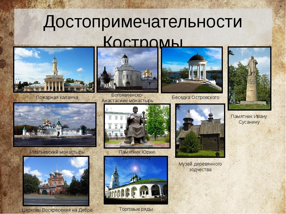 Достопримечательности Костромы Пожарная каланча Ипатьевский монастырь Торговы...