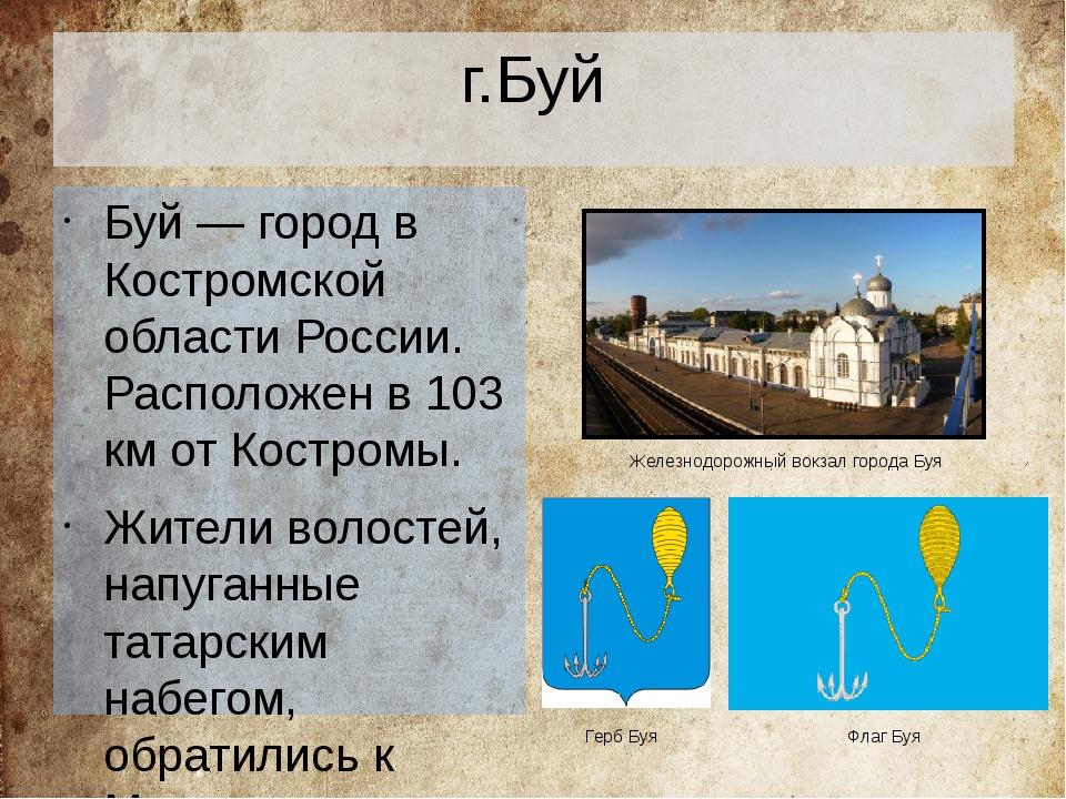 г.Буй Буй— город в Костромской области России. Расположен в 103 км от Костр...