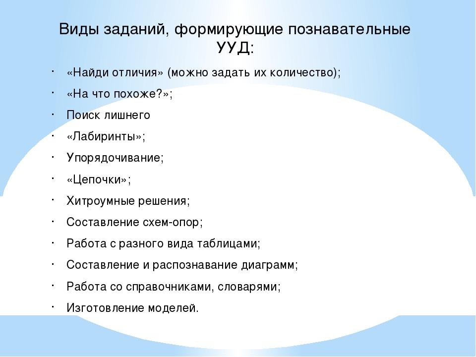 Виды заданий, формирующие познавательные УУД: «Найди отличия» (можно задать и...