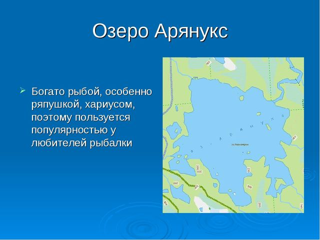 Озеро Арянукс Богато рыбой, особенно ряпушкой, хариусом, поэтому пользуется п...