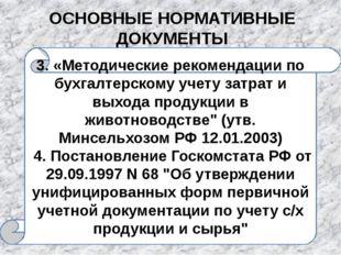 ОСНОВНЫЕ НОРМАТИВНЫЕ ДОКУМЕНТЫ 3. «Методические рекомендации по бухгалтерском