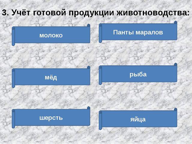 молоко мёд шерсть Панты маралов рыба яйца 3. Учёт готовой продукции животново...