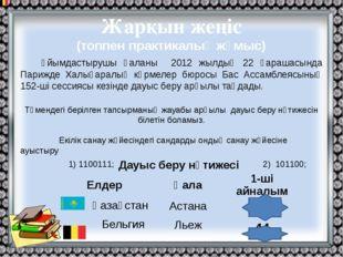 Жарқын жеңіс (топпен практикалық жұмыс) Ұйымдастырушы қаланы 2012 жылдың 22 қ