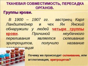 ТКАНЕВАЯ СОВМЕСТИМОСТЬ, ПЕРЕСАДКА ОРГАНОВ. Группы крови. В 1900 – 1907 гг. а