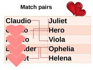 Match pairs Claudio Juliet Orsino Hero Romeo Viola Lysander Ophelia Hamlet He