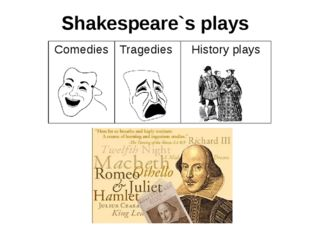 Shakespeare`s plays Comedies Tragedies History plays