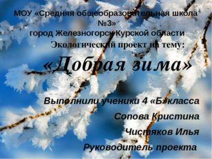 МОУ «Средняя общеобразовательная школа №3» город Железногорск Курской области