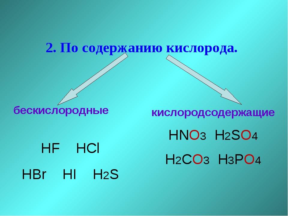 2. По содержанию кислорода. бескислородные HF HCl HBr HI H2S кислородсодержа...