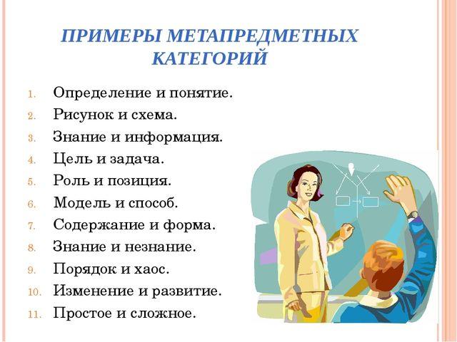 ПРИМЕРЫ МЕТАПРЕДМЕТНЫХ КАТЕГОРИЙ Определение и понятие. Рисунок и схема. Знан...
