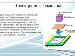 Проекционные сканеры Вводимый документ кладется на поверхность сканирования