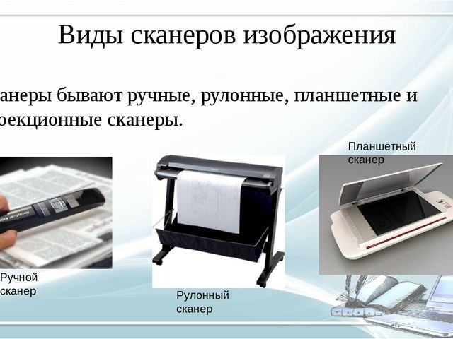Виды сканеров изображения Сканеры бывают ручные, рулонные, планшетные и проек...