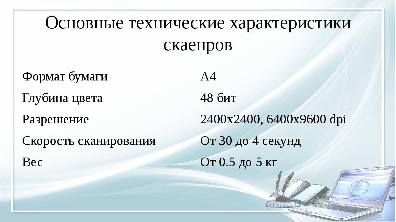 Основные технические характеристики скаенров Формат бумаги A4 Глубина цвета 4...
