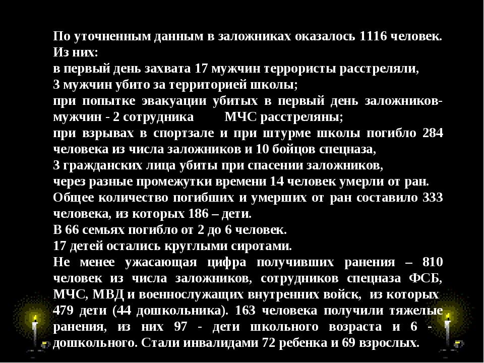 По уточненным данным в заложниках оказалось 1116 человек. Из них: в первый де...