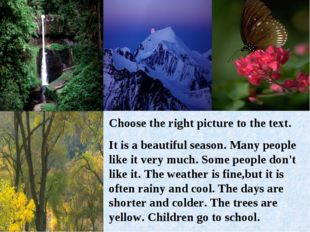 Сhoose the right picture to the text. It is a beautiful season. Many people l