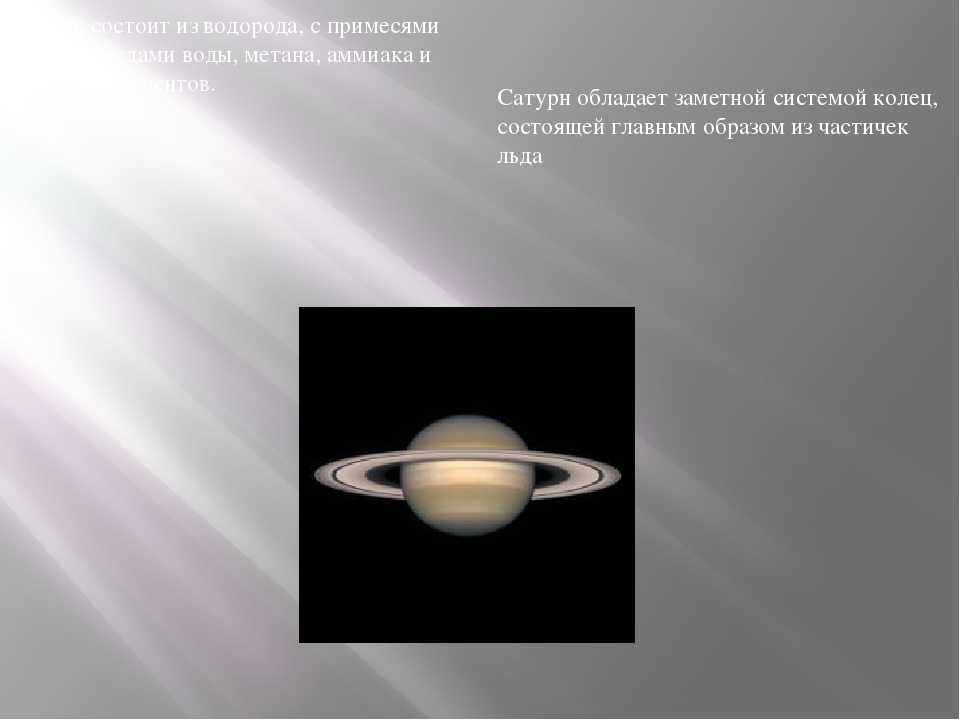 Сатурн состоит изводорода, с примесями гелия и следами воды,метана,аммиака...