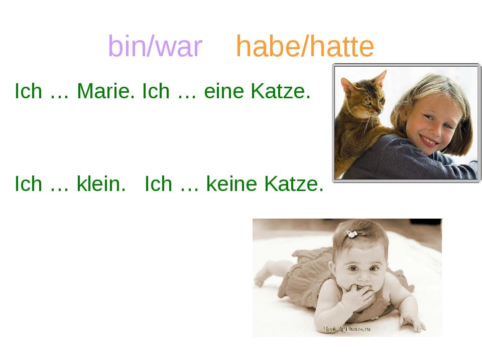 bin/war habe/hatte Ich … Marie. Ich … eine Katze. Ich … klein. Ich … keine Ka...