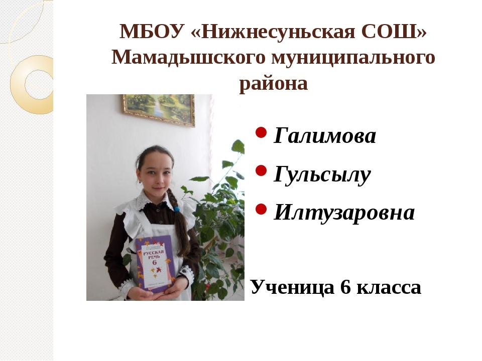 МБОУ «Нижнесуньская СОШ» Мамадышского муниципального района Галимова Гульсылу...