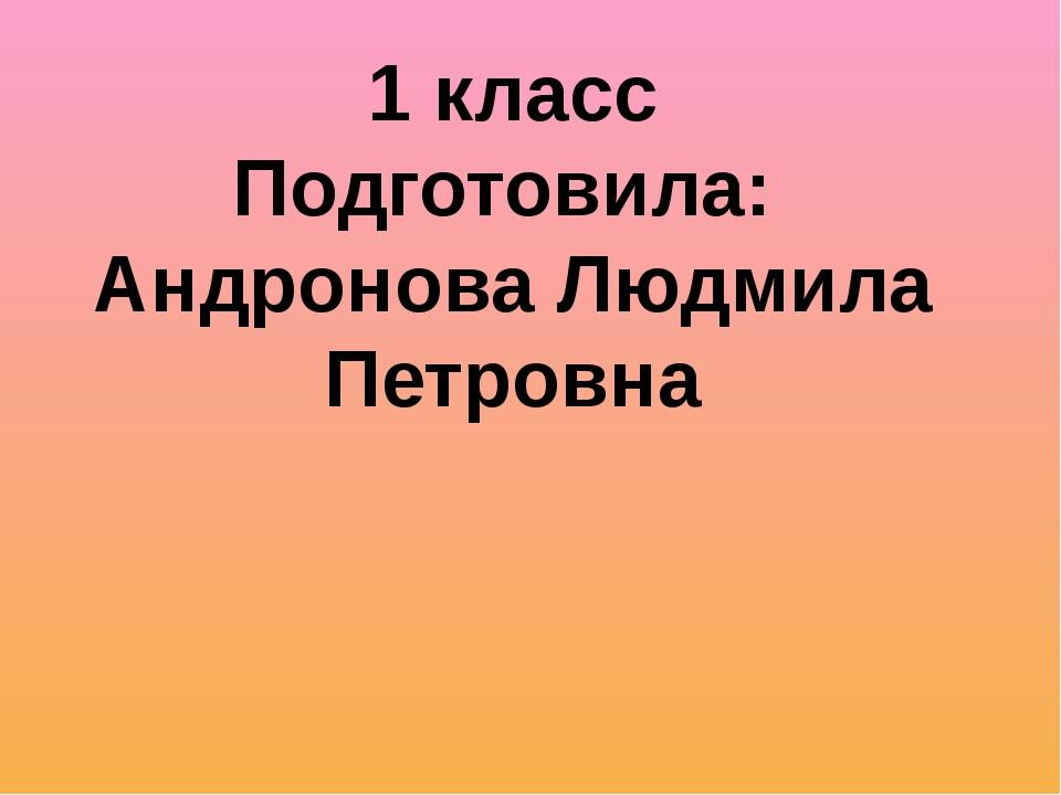 1 класс Подготовила: Андронова Людмила Петровна