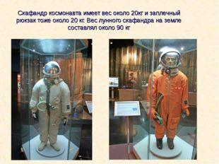 Скафандр космонавта имеет вес около 20кг и заплечный рюкзак тоже около 20 кг.