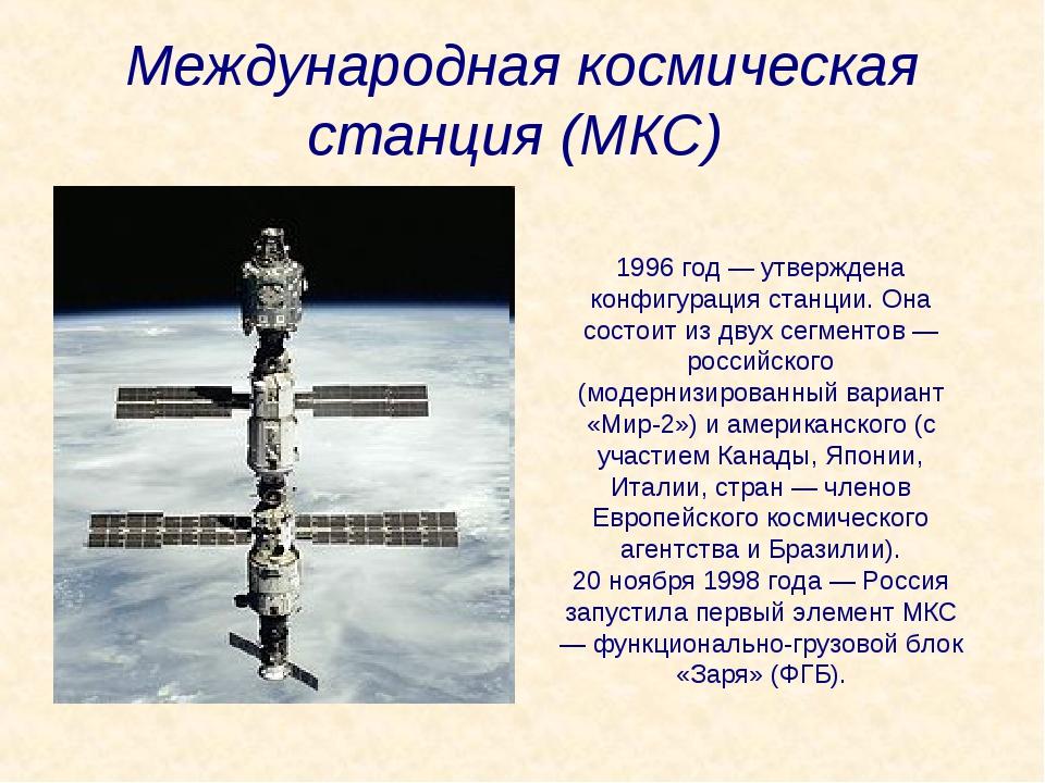 Международная космическая станция (МКС) 1996 год — утверждена конфигурация ст...