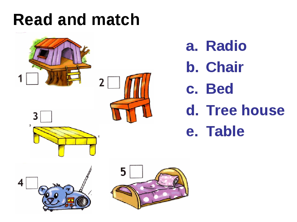 Read and match Radio Chair Bed Tree house Table