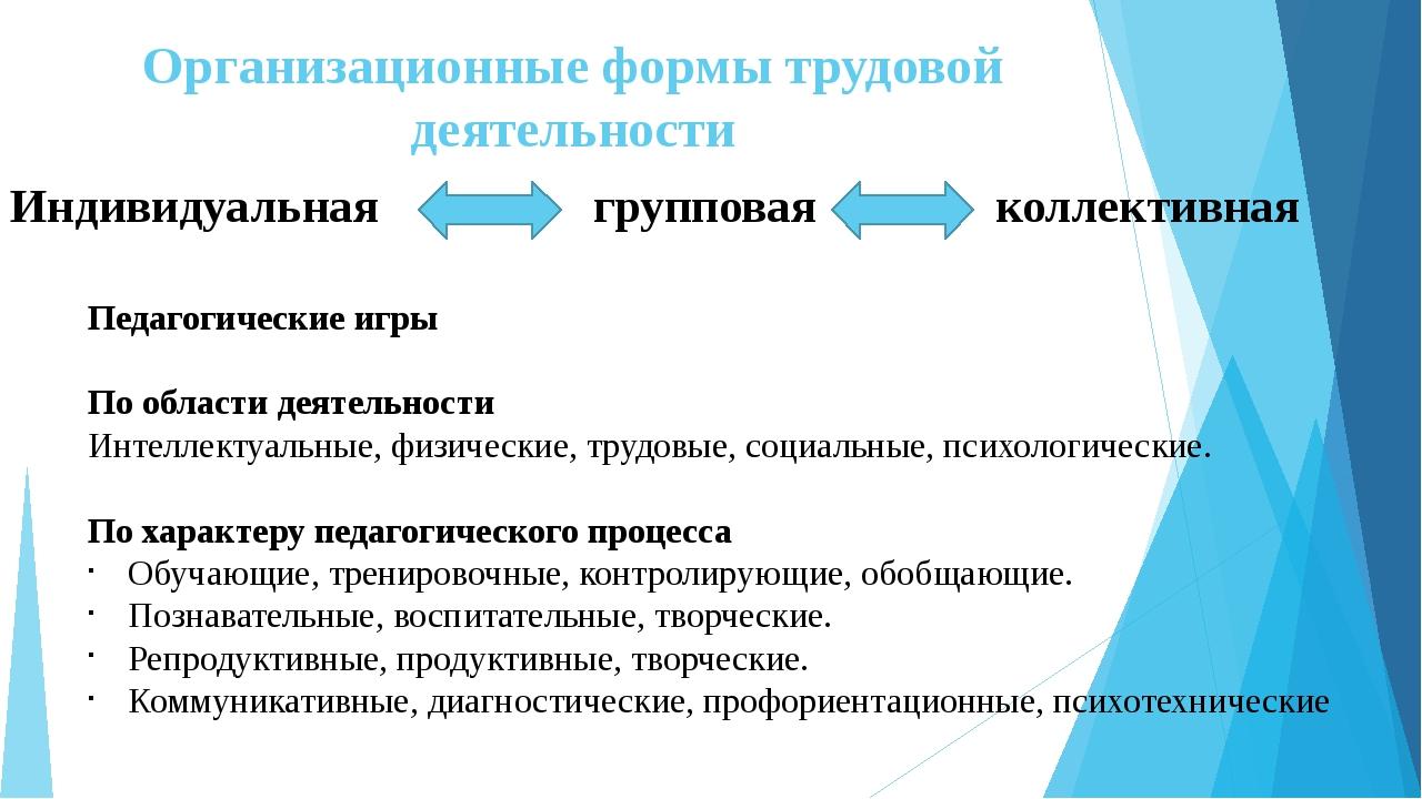 Организационные формы трудовой деятельности Индивидуальная групповая коллекти...