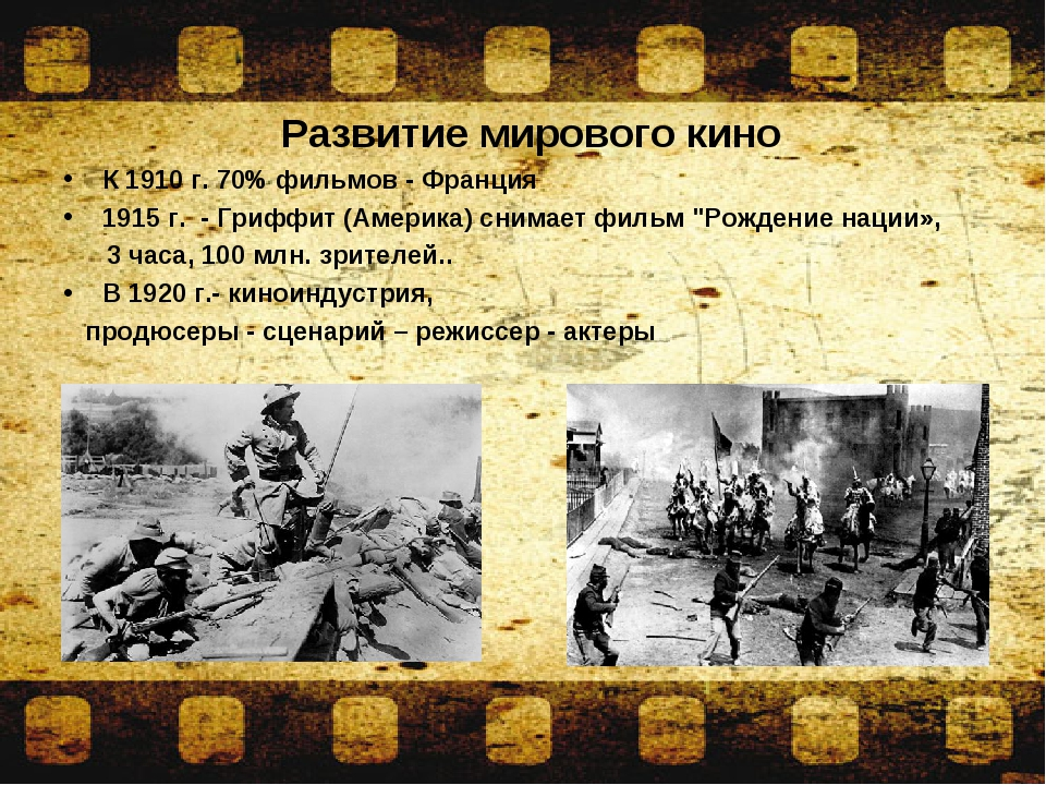 Развитие мирового кино К 1910 г. 70% фильмов- Франция 1915 г. - Гриффит (Ам...