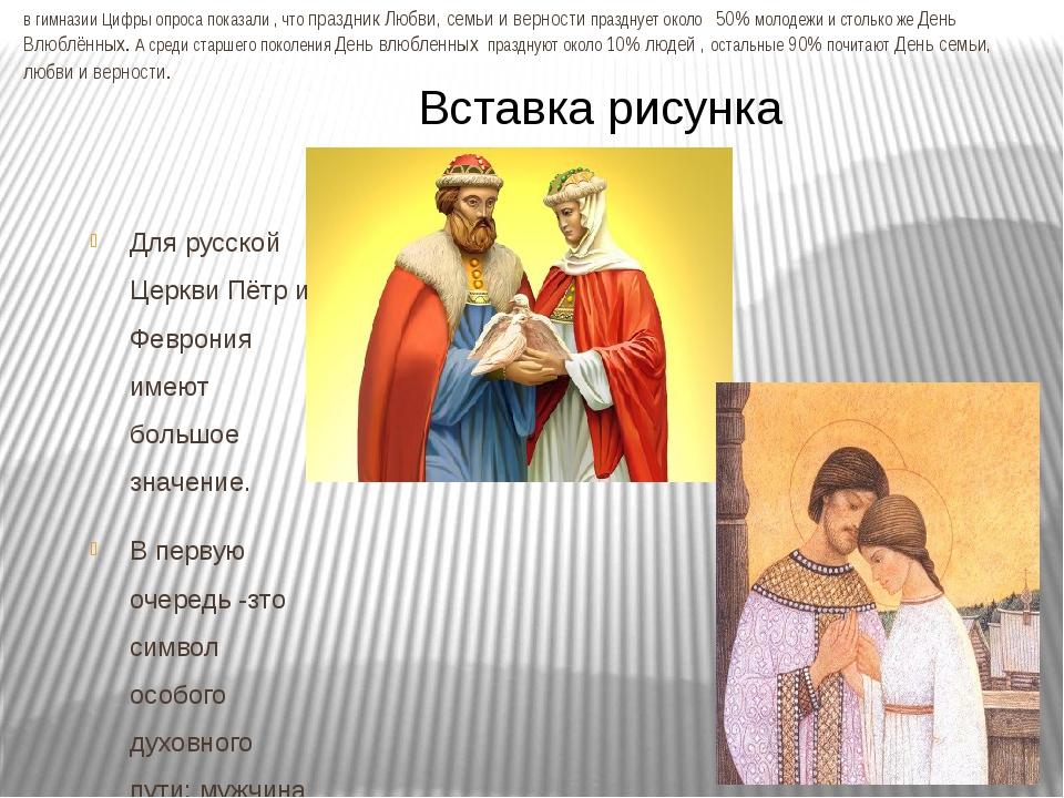 в гимназии Цифры опроса показали , что праздник Любви, семьи и верности празд...