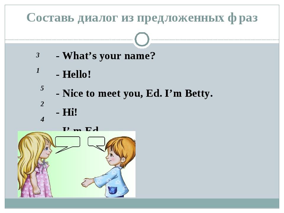 Составь диалог из предложенных фраз - What's your name? - Hello! - Nice to me...
