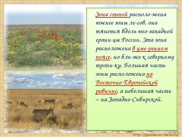 Зона степей располо-жена южнее зоны ле-сов, она тянется вдоль юго-западной г...
